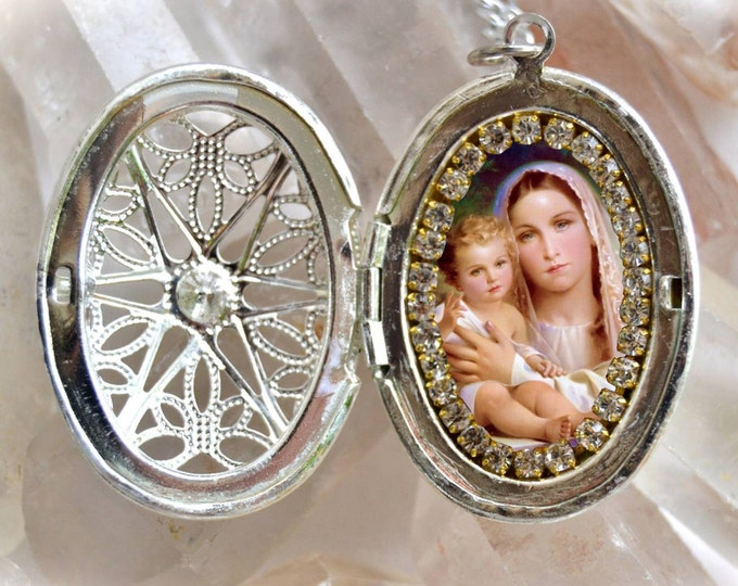 Our Lady of Mount Carmel Locket Handmade Necklace Catholic Christian Religious Jewelry Medal Pendant