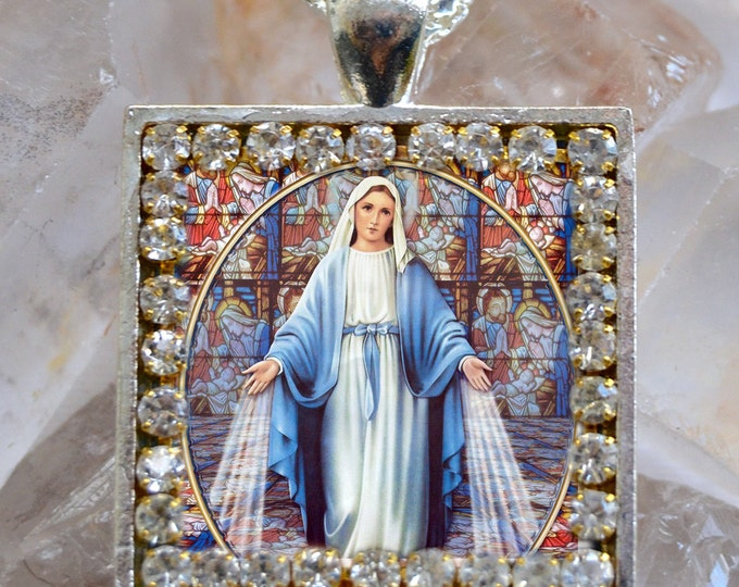 Our Lady Mary Mediatrix of All-Grace Handmade Scapular Necklace Miraculous Medal Catholic Christian Religious Jewelry Medal Pendant