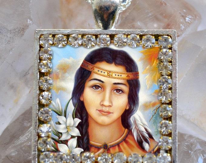 Saint Kateri Tekakwitha Scapular Handmade Necklace Catholic Christian Religious Jewelry Medal Pendant