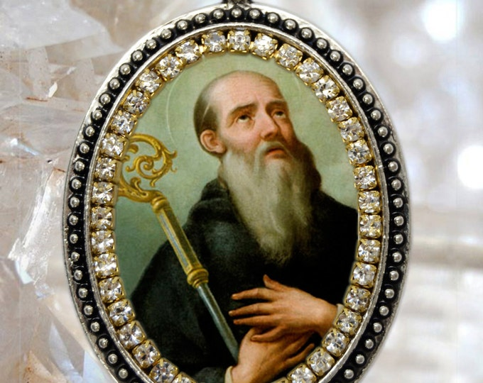 St. Benedict  Handmade Necklace Catholic Christian Religious Jewelry Medal Pendant