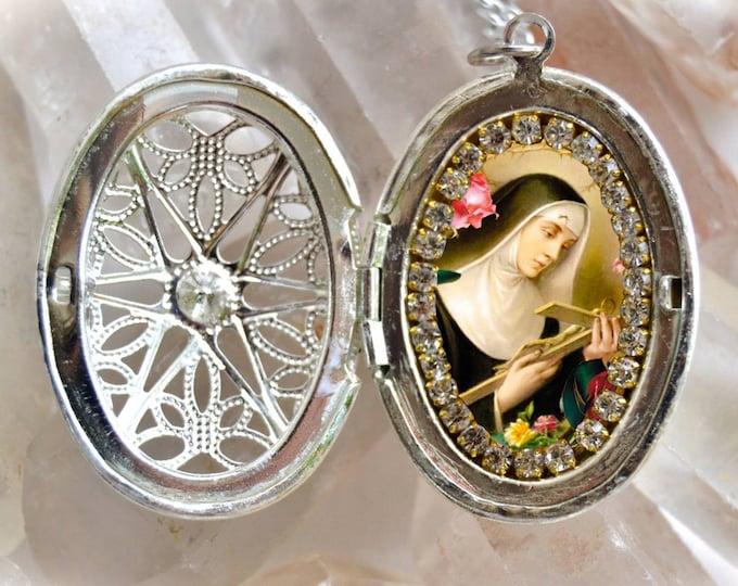 Saint Rita of Cascia or St. Rita de Cassia Locket Handmade Necklace Pendant