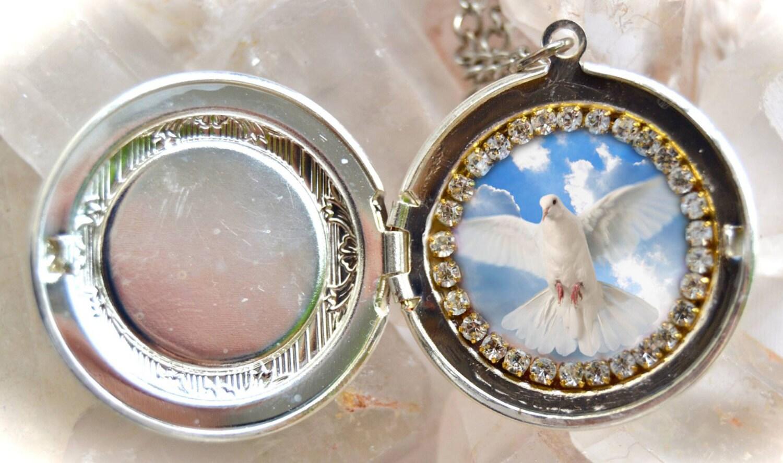 Holy Spirit Handmade Locket Necklace Catholic Christian