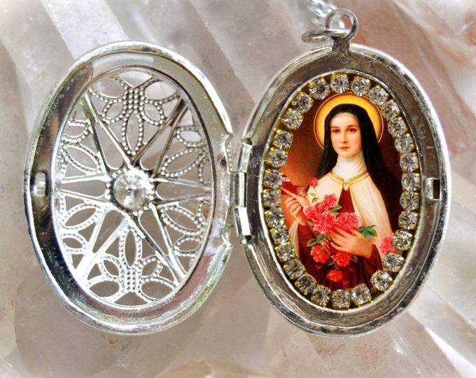 Saint Therese of Lisieux, Santa Teresa, Handmade Locket Necklace Catholic Christian Religious Jewelry Medal Pendant