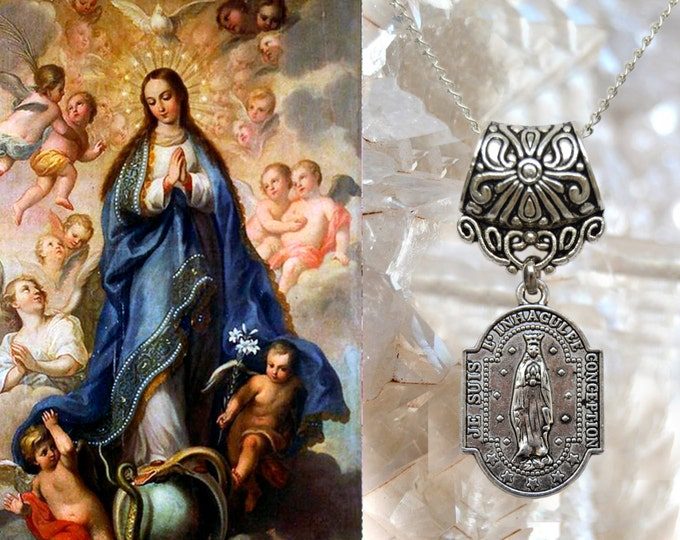 Our Lady Immaculate Conception of Mary Necklace Catholic Christian Religious Jewelry Medal Pendant, Mary Immaculate