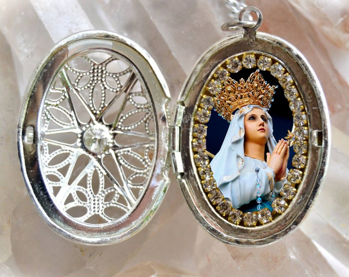Our Lady of Lourdes Handmade Locket Necklace Catholic Christian Religious Charm Jewelry Medal Pendant