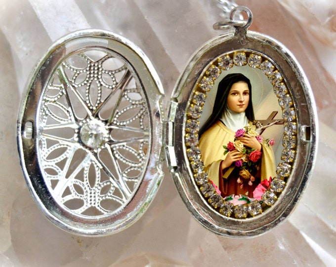 Saint Therese of Lisieux Locket Necklace Handmade