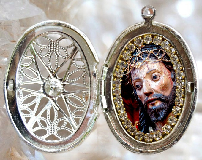 Lord Holy Christ of the Miracles (Azores) - Locket Necklace - Senhor Santo Cristo dos Milagres (Açores) - Handmade Religious Jewelry