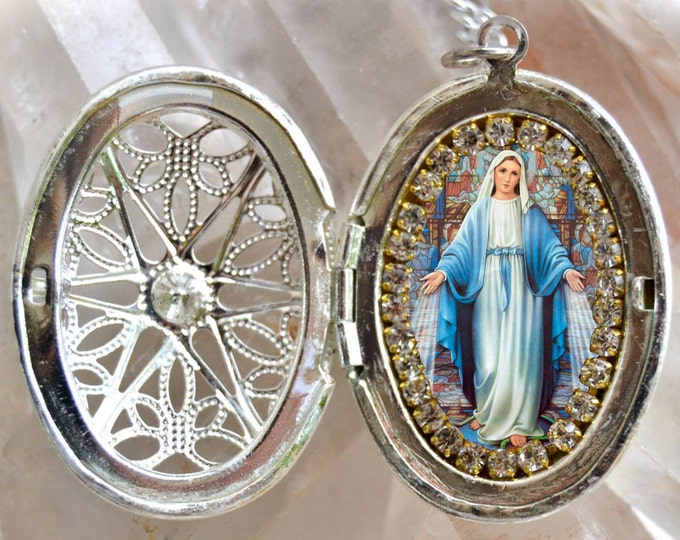 Our Lady Mary Mediatrix of All-Grace Handmade Locket Necklace Miraculous Medal Catholic Christian Religious Jewelry Medal Pendant