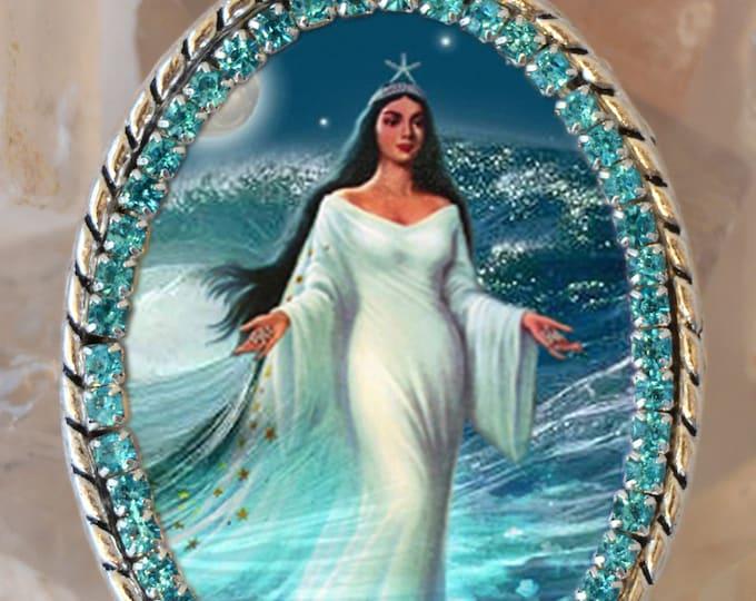 Yemanjá or Iemanjá Queen of The Sea Handmade Necklace Orixá or Orisha Jewelry Medal Pendant
