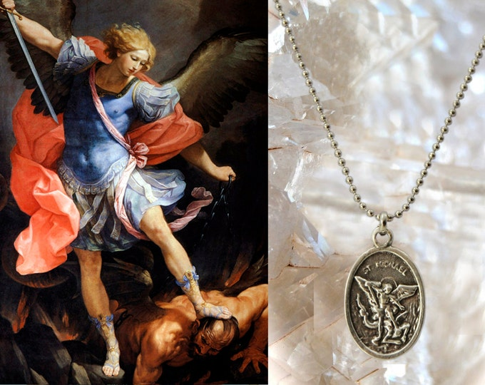 St. Michael Archangel Handmade Locket, Patron Saint of Mariners; Soldiers; Paratroopers; Battles; Boatmen, Religious Medal Pendant