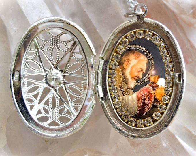 St. Padre Pio Locket Handmade Necklace Catholic Christian Religious Jewelry Medal Pendant