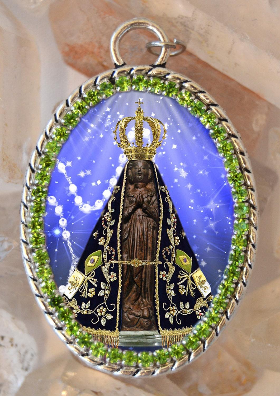 Pendant Nossa Senhora Aparecida  Religious Metal Chain Necklace with Our Lady of Aparecida Pendant Catholic