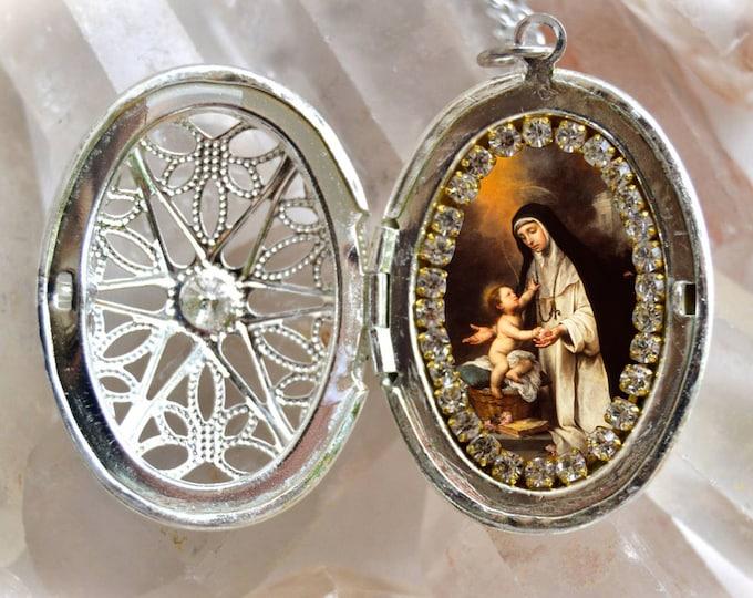 Saint Rose of Lima Locket, Handmade Necklace Catholic Christian Religious Jewelry Medal Pendant Santa Rosa de Lima