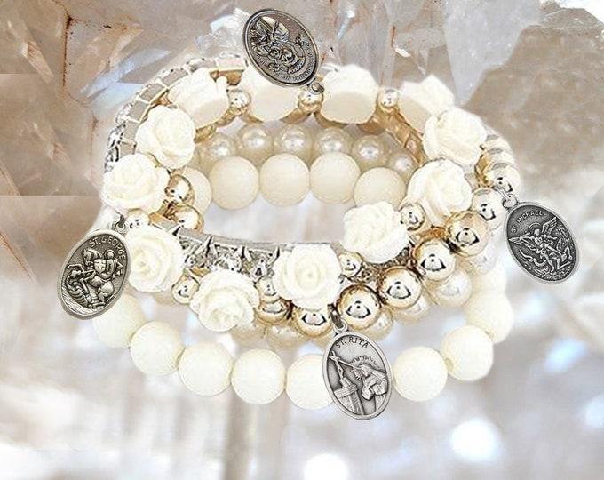 Personalized PATRON SAINTS Bracelet - Choose 4 medals to your bracelet