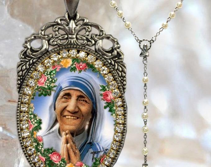Teresa of Calcutta Rosary - Patron Saint of World Youth Day -  Christian Religious Jewelry Medal Pendant Madre Teresa of Calcutta