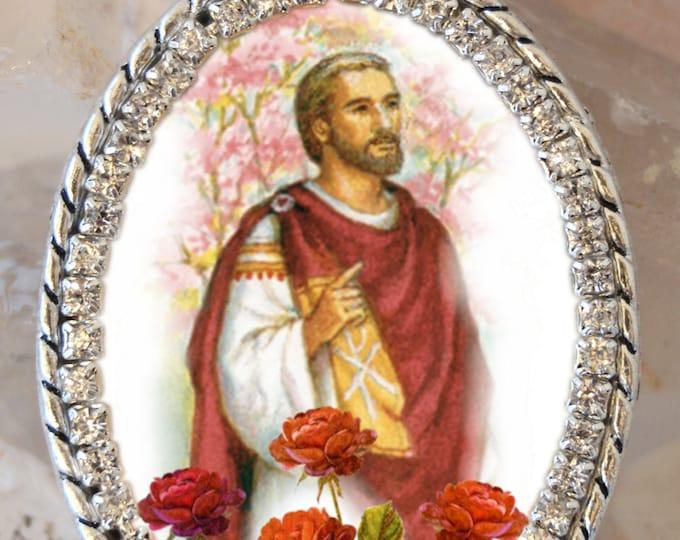 St. Valentine Handmade Locket Necklace Catholic Christian Charm Religious Charm Jewelry Medal Pendant