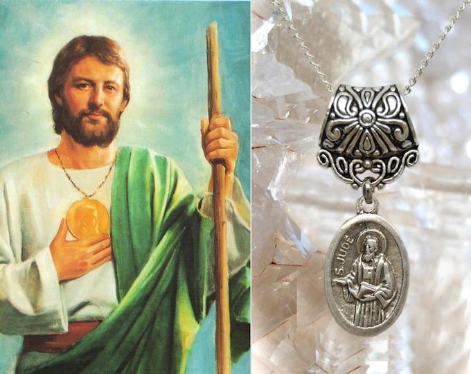 St. Jude Thaddeus The Apostle, Charm Necklace Catholic Christian Religious Jewelry Medal Pendant, São Judas Tadeu