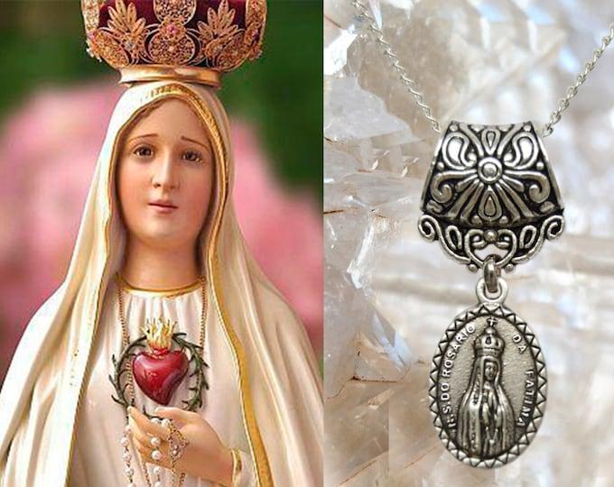 Our Lady of Fatima Charm Necklace Catholic Christian Religious Jewelry Medal Pendant, Nossa Senhora de Fatima