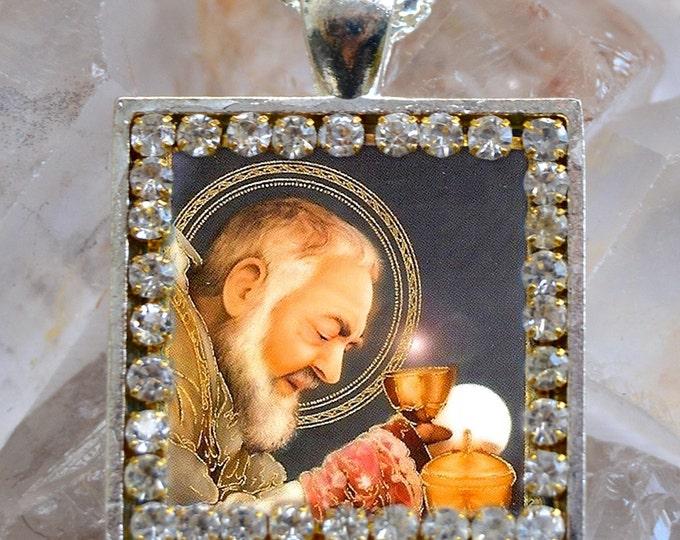 St. Padre Pio Handmade Scapular Necklace Catholic Christian Religious Jewelry Medal Pendant