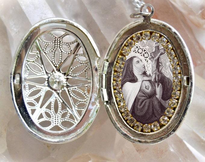 Saint Teresa of Avila Vintage Style Locket ,Santa Teresa de Ávila Handmade Necklace Catholic Christian Religious Jewelry Medal Pendant