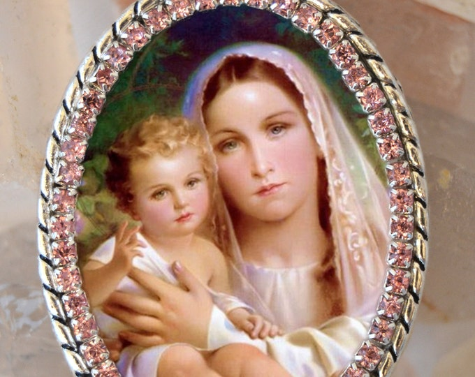 Our Lady of Mount Carmel Handmade Necklace Catholic Christian Religious Jewelry Medal Pendant