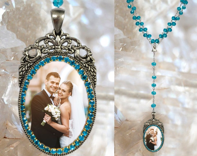 Custom Rosary with YOUR PHOTO Handmade medal Jewelry Pendant