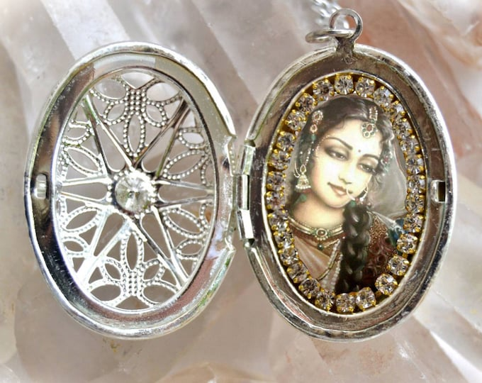 Goddess Parvati Handmade Locket Necklace Hindu Indian Devotion Charm Jewelry Medal Pendant