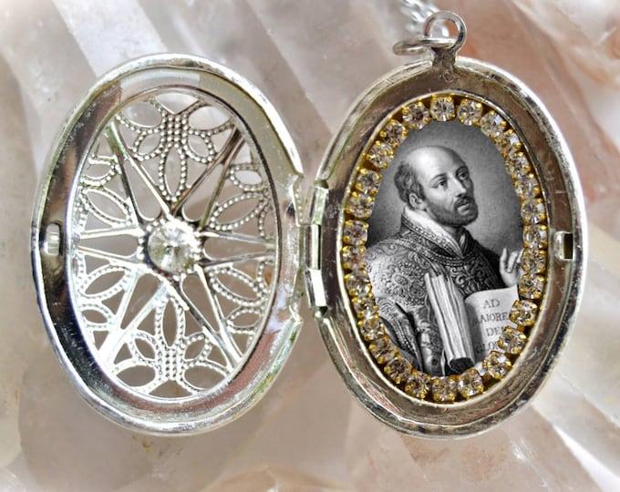 St. Ignatius Loyola Handmade Locket Necklace Catholic Christian Religious Jewelry Medal Pendant The Society of Jesus Order