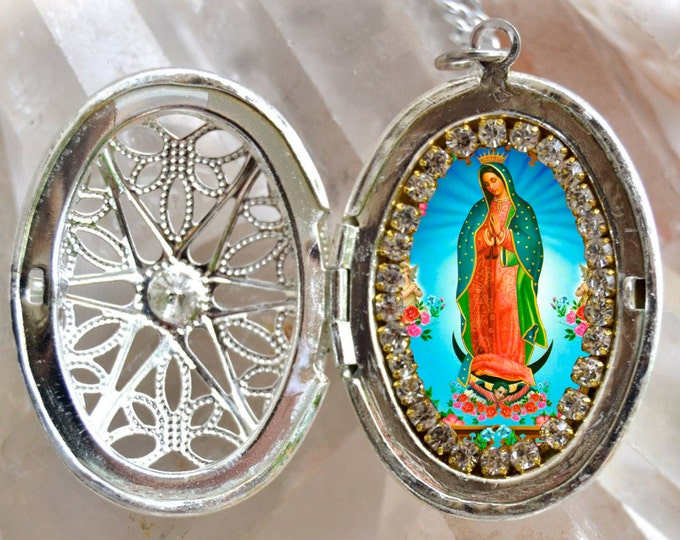 Our Lady of Guadalupe Handmade Locket Necklace Catholic Christian Religious Jewelry Medal Pendant
