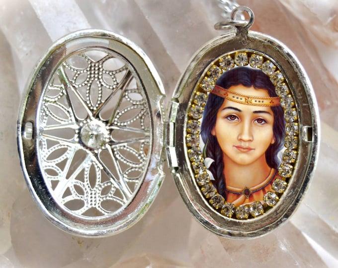 Saint Kateri Tekakwitha Handmade Locket Necklace Catholic Christian Religious Jewelry Medal Pendant