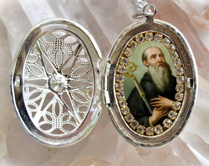 St. Benedict  Handmade Locket Necklace Catholic Christian Religious Jewelry Medal Pendant