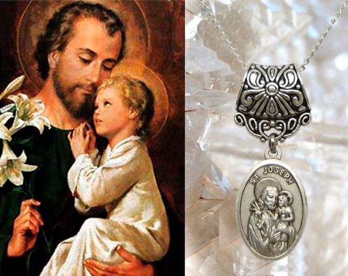 St. Joseph Necklace Catholic Christian Religious Jewelry Medal Pendant São José