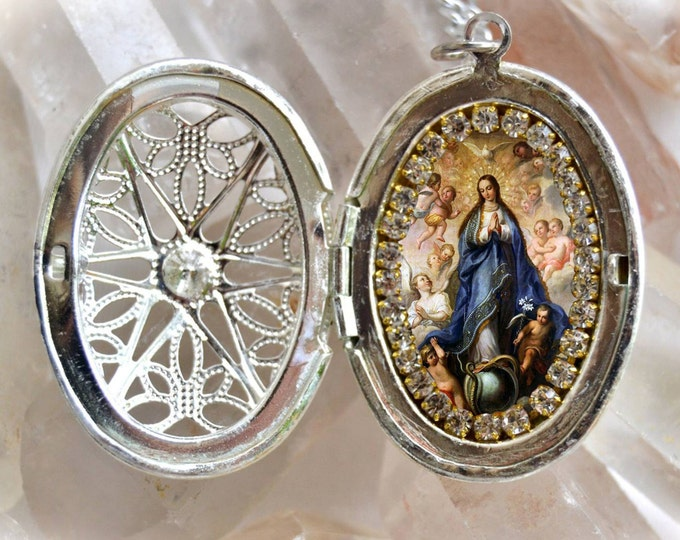 Our Lady Immaculate Conception of Mary Handmade Locket Necklace Catholic Christian Religious Jewelry Medal Pendant, Mary Immaculate
