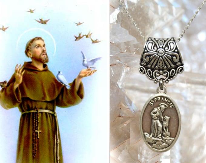 Saint Francis of Assisi Charm Necklace Catholic Christian Religious Jewelry Medal Pendant, São Francisco de Assis