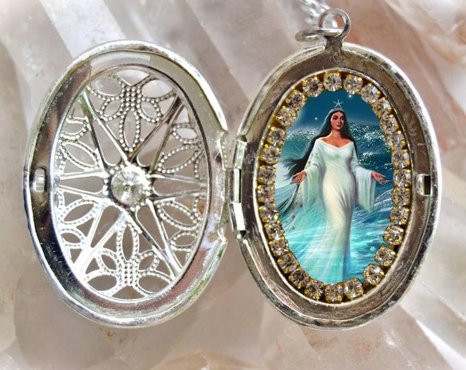 Yemanjá or Iemanjá Queen of The Sea Handmade Locket Necklace Orixá or Orisha   Jewelry Medal Pendant