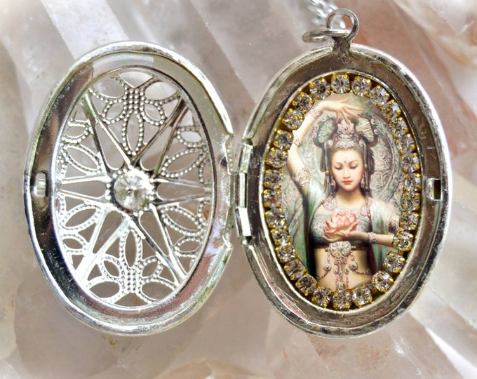 Kuan Yin Goddess of Mercy and Compassion Locket Handmade Necklace Charm Jewelry Medal Pendant