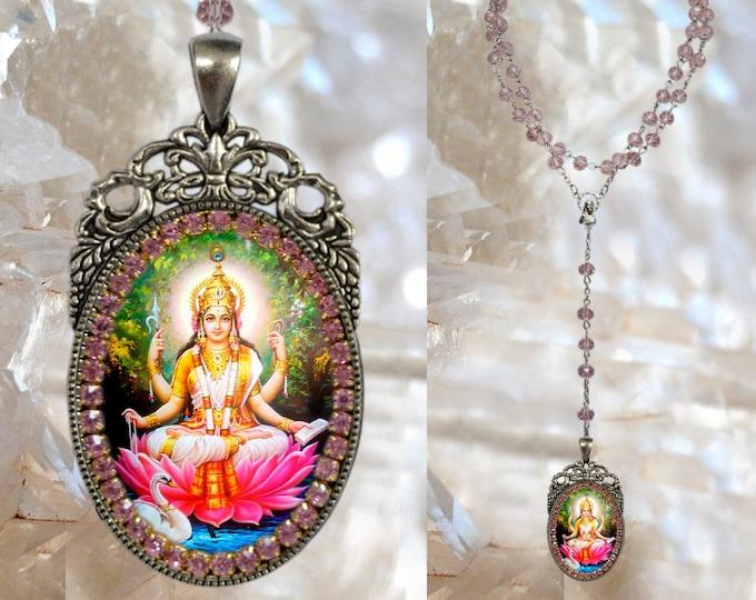 Rosary of Saraswati Vandana Goddess Handmade Hindu Jewelry Medal Pendant Sarasvati