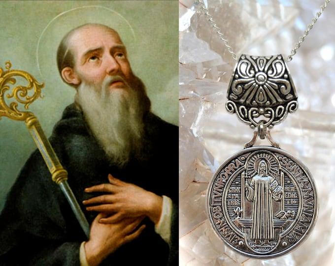 St. Benedict Medal , Charm Necklace Catholic Christian Religious Jewelry Pendant, Saint Benedict of Nursia