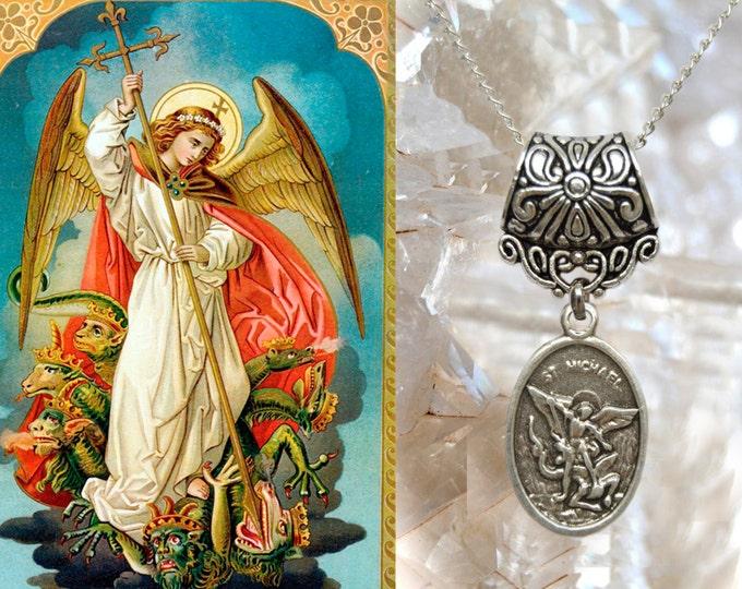 St. Michael Archangel Charm Necklace Catholic Christian Religious Charm Jewelry Medal Pendant