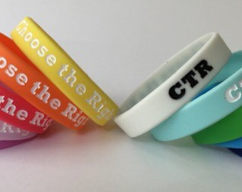 """Ten ADULT """"Choose the Right"""" CTR 2017 Primary Wristbands - (10) LDS"""