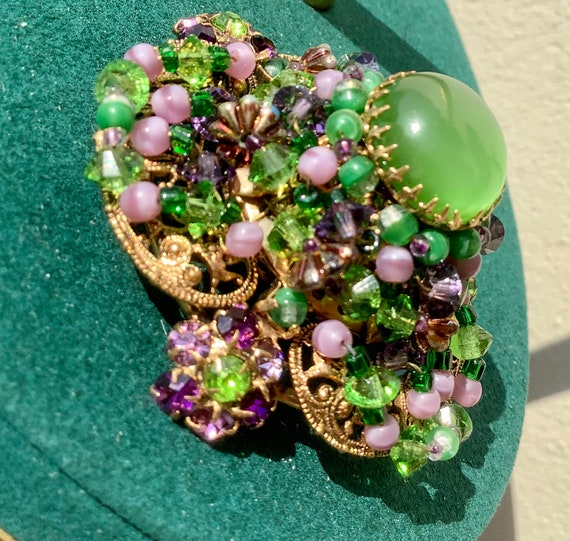 Louis Rousselet French poured glass bead brooch - image 5