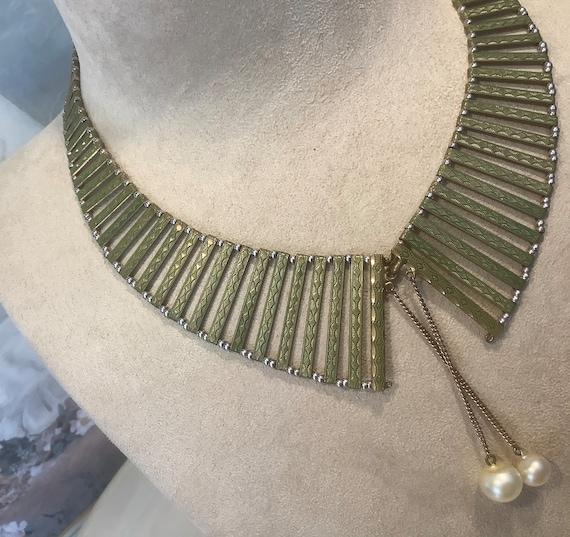 Jacob  Bengel Art Deco 1930s Enamel Collar Necklac