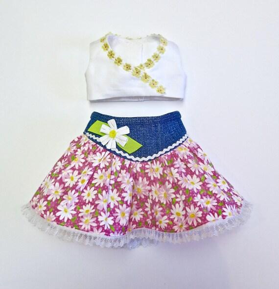 doll dress for 18 inch american girl pink blue white flower handmade rare 289