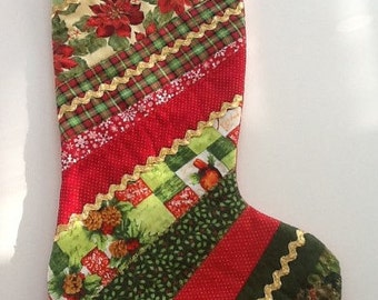 Quilted Christmas Stocking - poinsetta, plaid, mixed fabrics