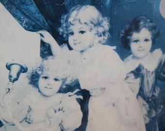 Victorian Children angelic children Print behind glass framed 53 x 44 cm 3 adorable children vintage Victorian replica print
