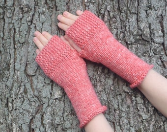 Coral fingerless gloves, texting gloves, hand made in usa, boho accessory spring accessory, texting mitts fingerless mitts /ready to ship
