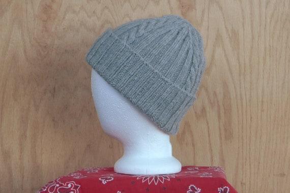 Gray alpaca wool blend watch cap warm winter hat hand knit  078ba25fa49