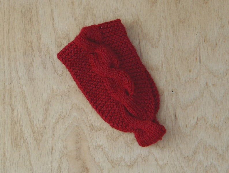 knitted earwarmer knit cabled ear warmer handknit vegan accessory hand made in usa ready to ship Cranberry red headband with cable motif