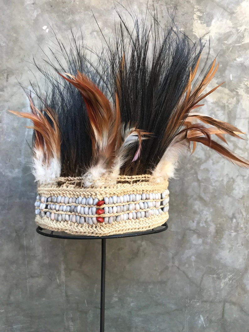 04822e158d3 Vintage Papua New Guinea Hat Headpiece   Tribal Clothing