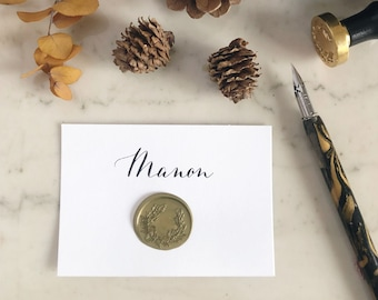 Place card with wax seal place card wax seal name cards wedding flat cards wedding place cards wedding placecard calligraphy escort cards